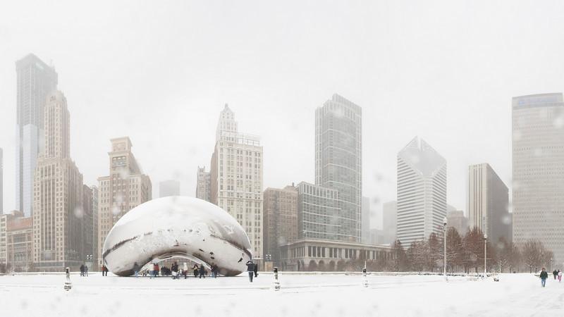 The Bean (Cloud Gate). Millennium Park, Chicago. January, 2009.