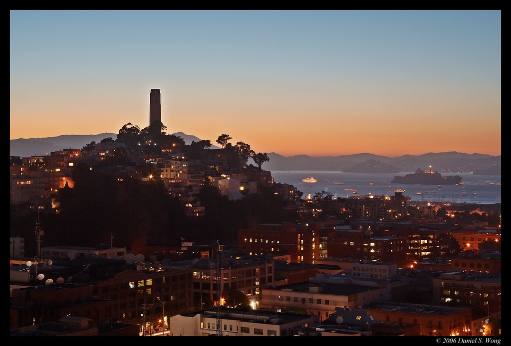 Coit Tower on Telegraph Hill. San Francisco, Califonia.